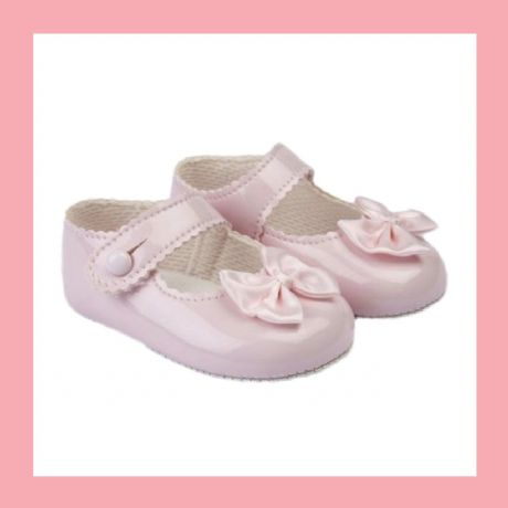 Girls Pink Patent Satin Bow Baypod Pram Shoes